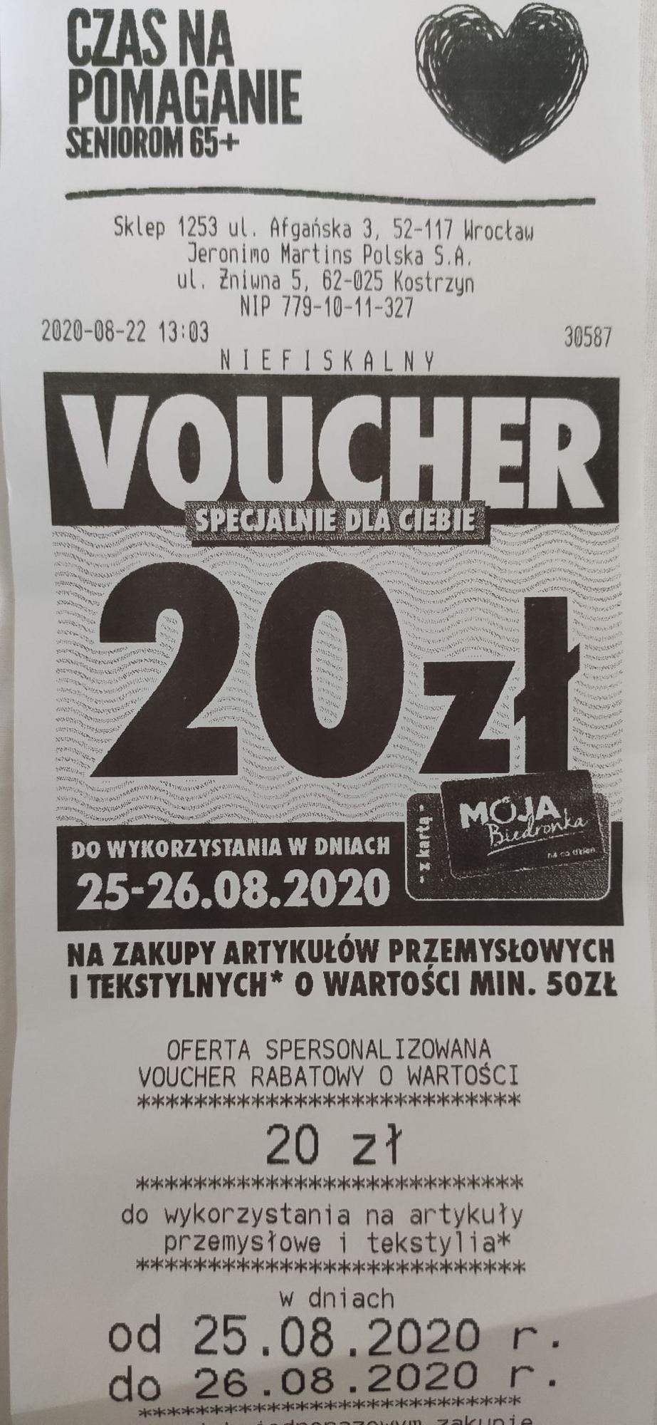 20 zł voucher biedronka 25-26.08.2020 na przemysłowe i tekstylia