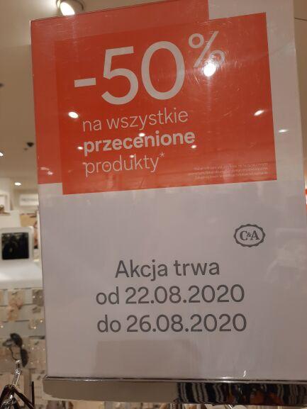 C&A 50% zniżka na produkty przecenione 22-26.08.2020