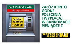 100 zł za wypłacenie z Western Union w bankomacie @ BZWBK