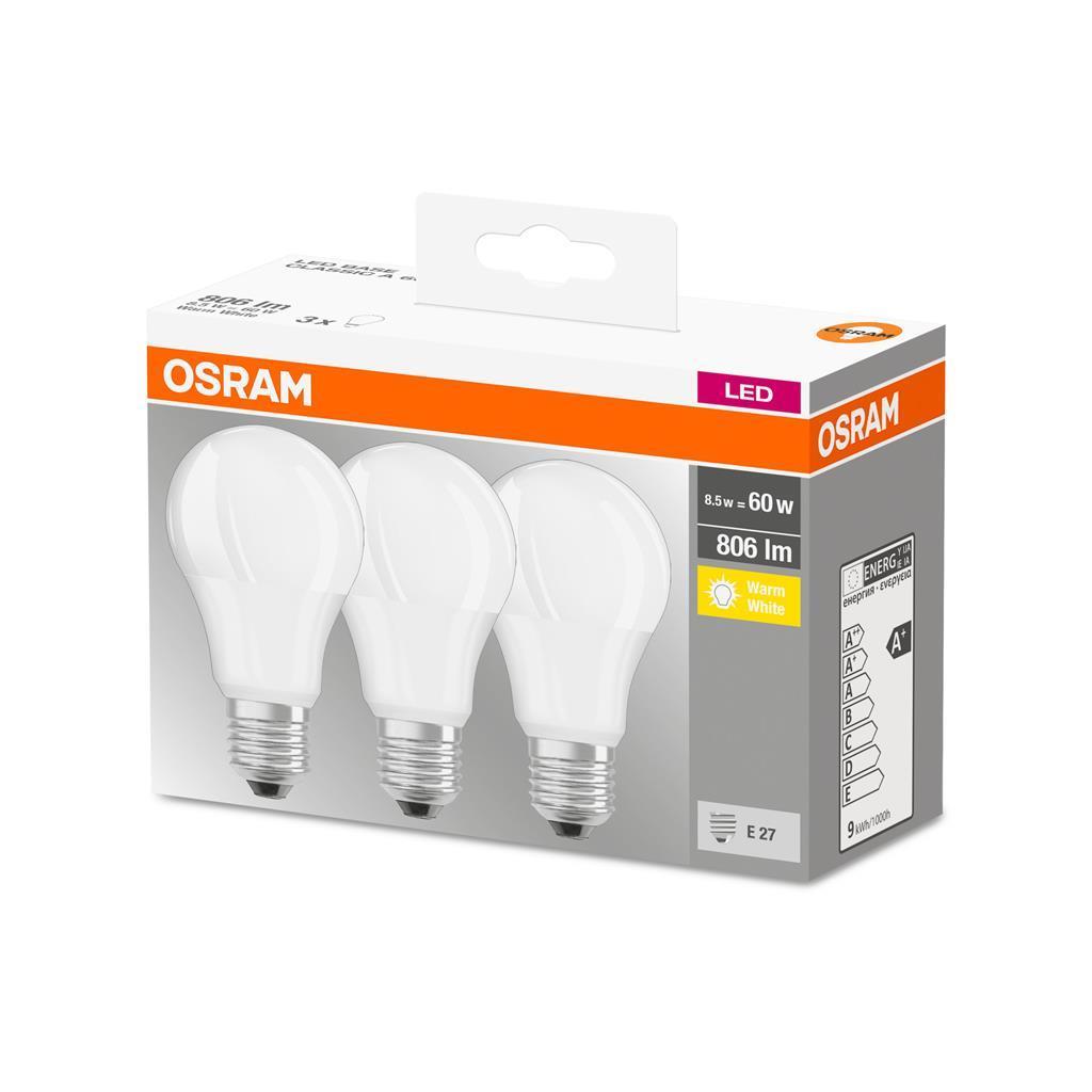 3 żarówki LED 8,5W/60W Osram E27, 806 lm, 2700 K, odbiór osobisty 0zł