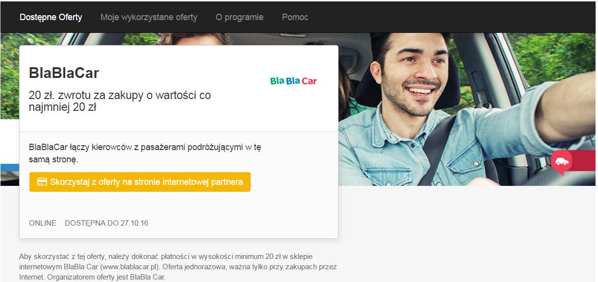 BlaBlaCar 20 zł. zwrotu za zakupy o wartości co najmniej 20 zł @VisaOferty