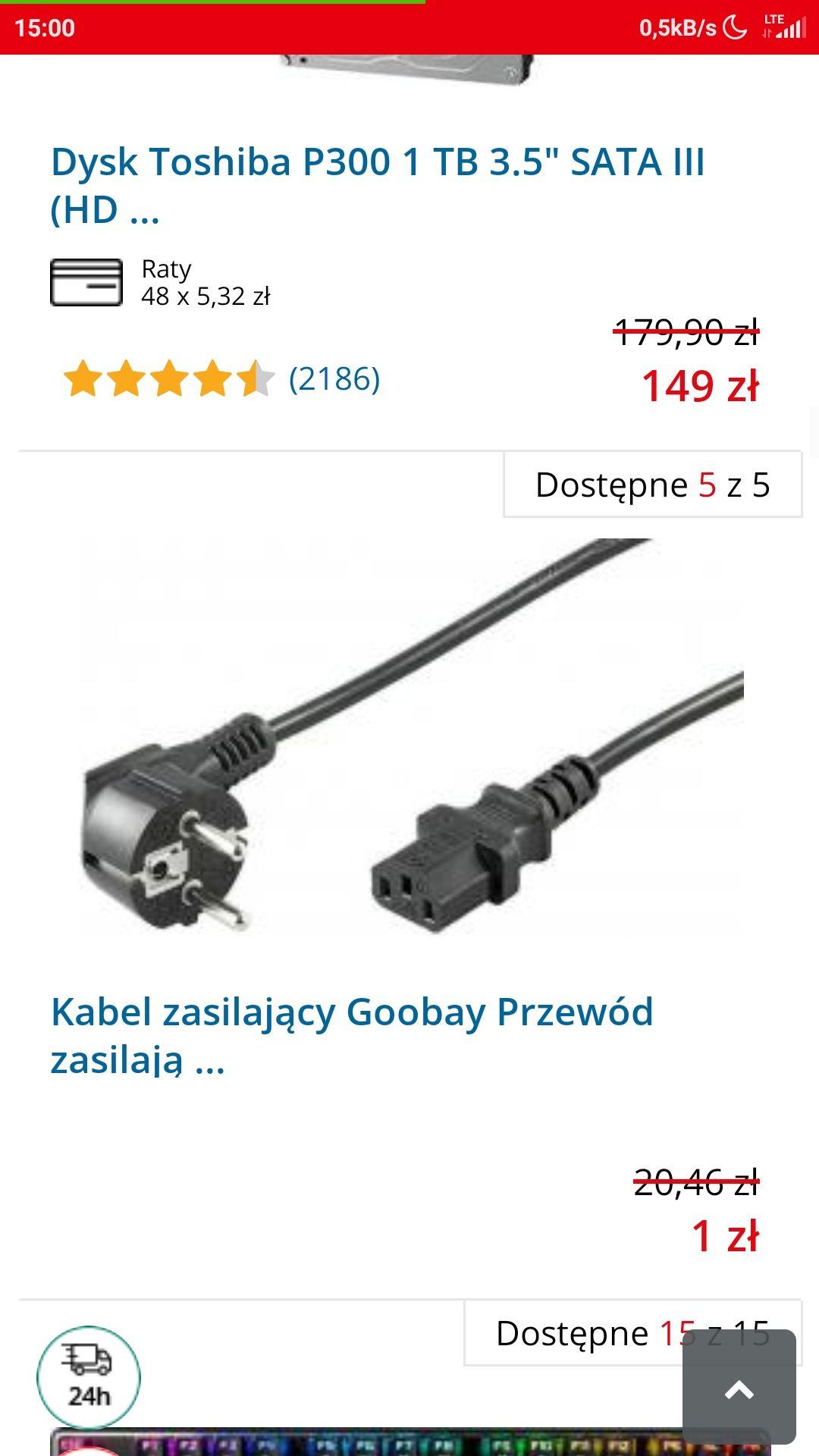 Kabel zasilający komputer 1zl morele.net