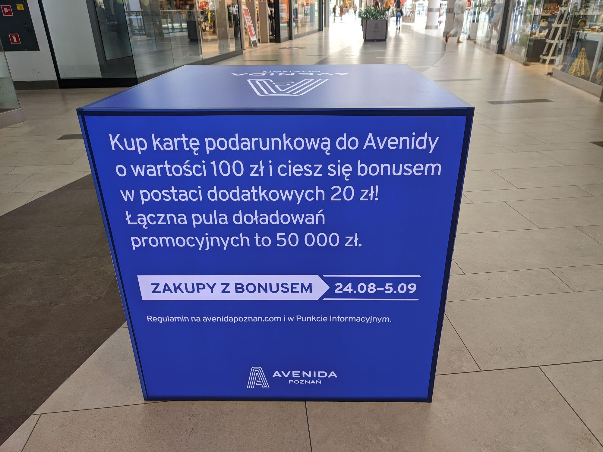 Bonus 20PLN do karty podarunkowej za 100PLN Avenida Poznań