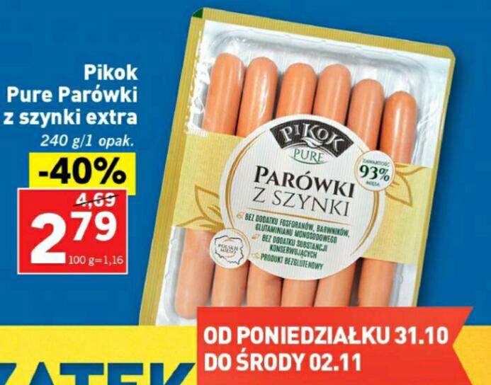 Parowki Pikok Pure z szynki (bez chemii) 240g za 2.79zł LIDL