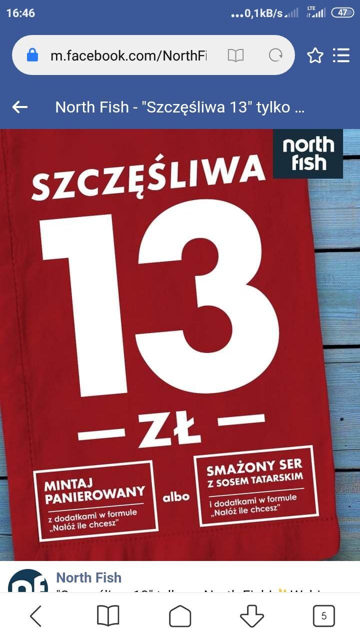 Szczęśliwa 13 - Dorsz lub Ser plus dodatki za 13 zł - Galeria Bałtycka Gdańsk