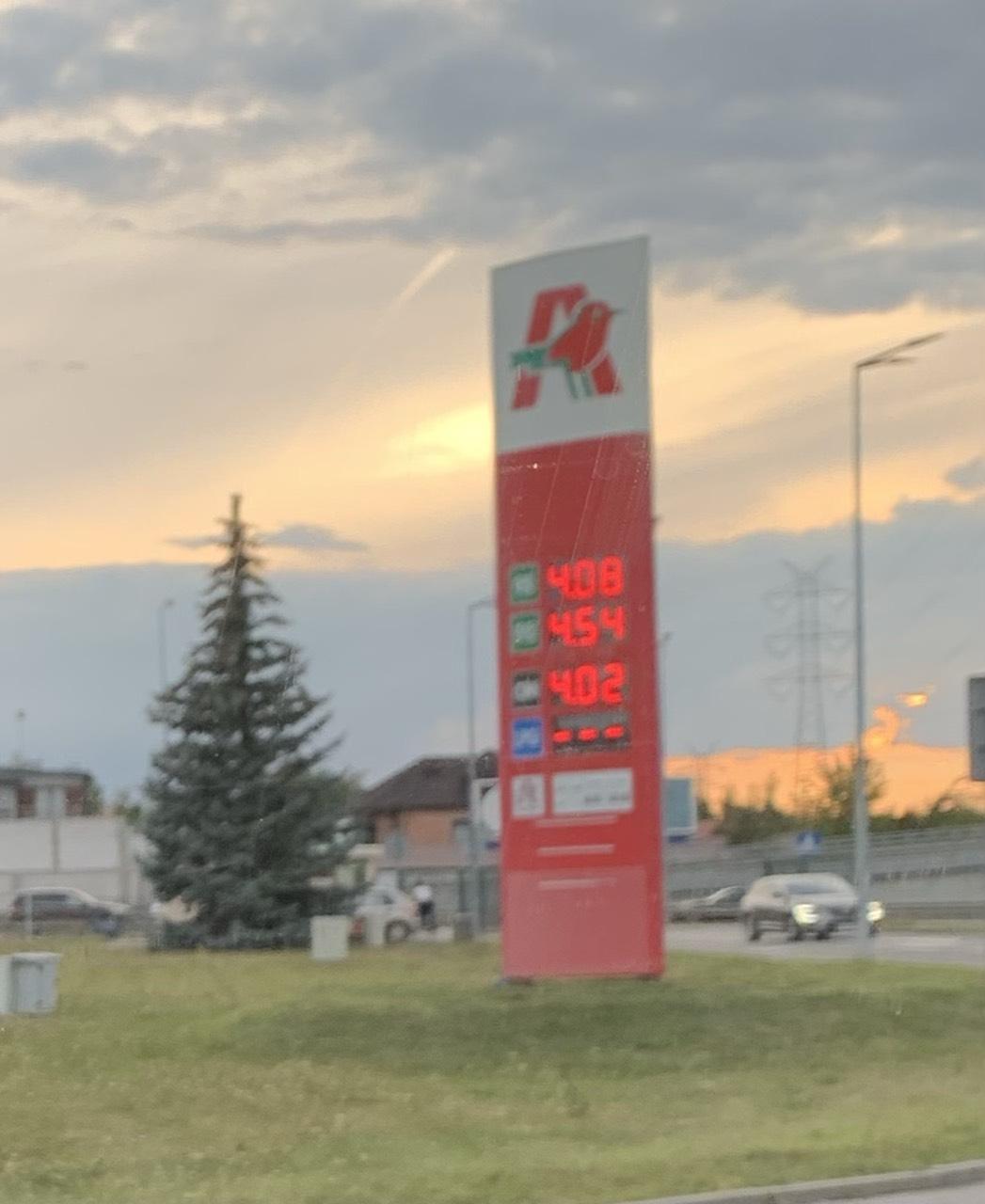 Paliwo Diesel ON 3,99; benzyna PB95 4,14 Auchan Piaseczno