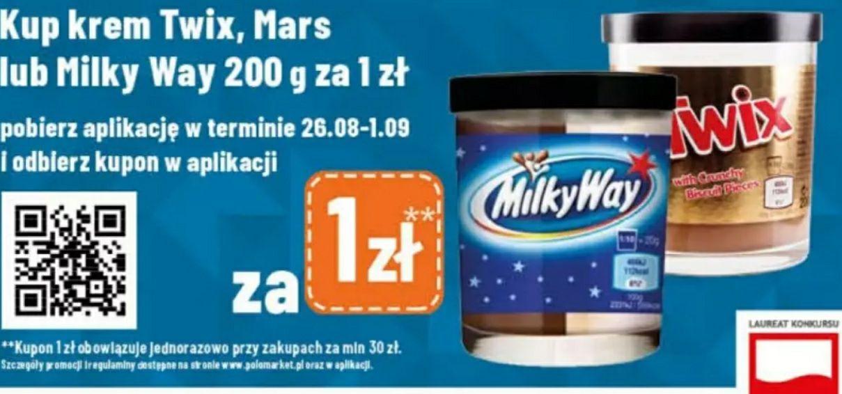 Krem Twix, Mars lub Milkyway 200g Polomarket MZW 30zł