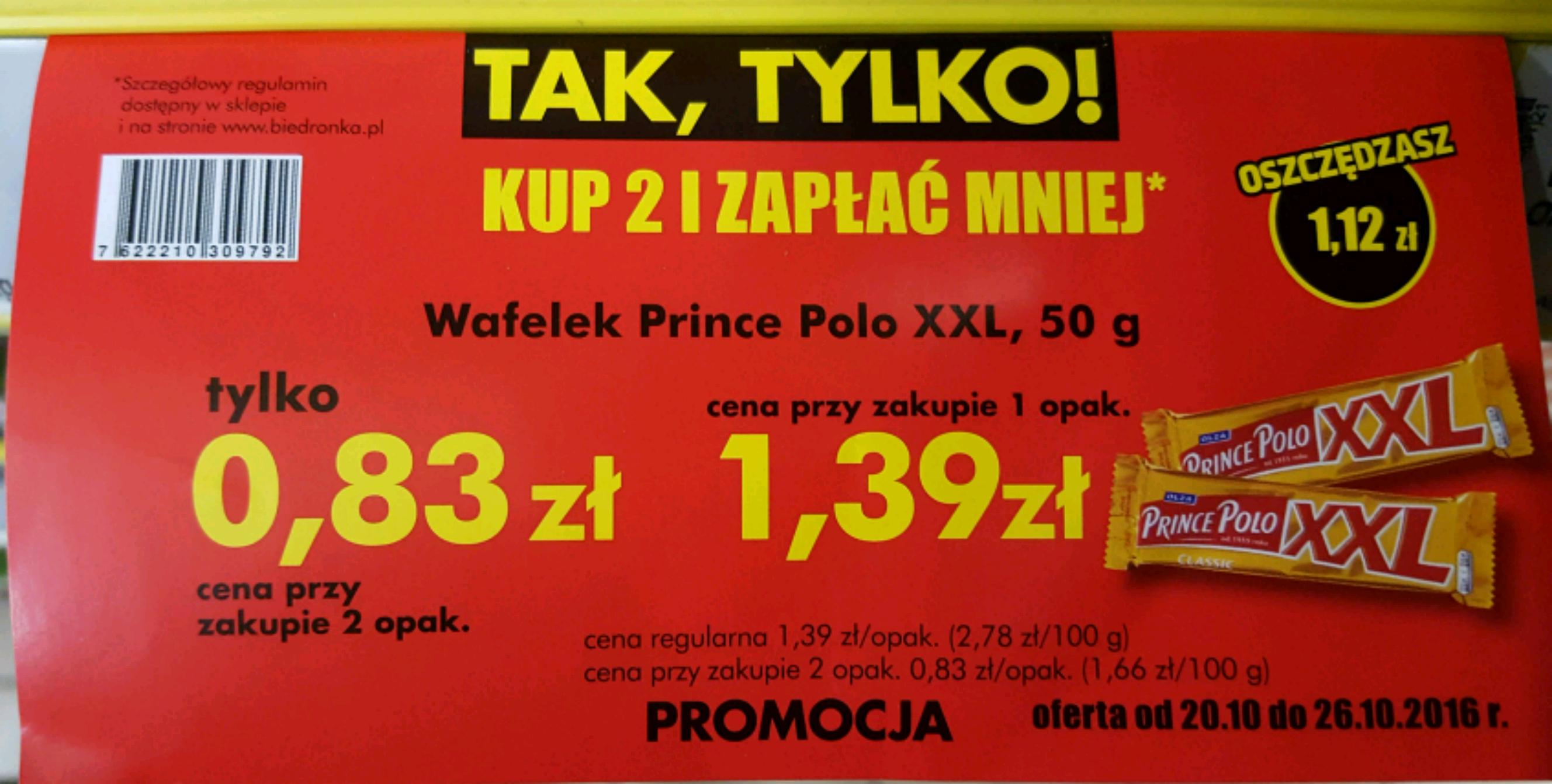 Wafel Prince Polo XXL za 0.83 zł w Biedronce przy zakupie 2 szt.