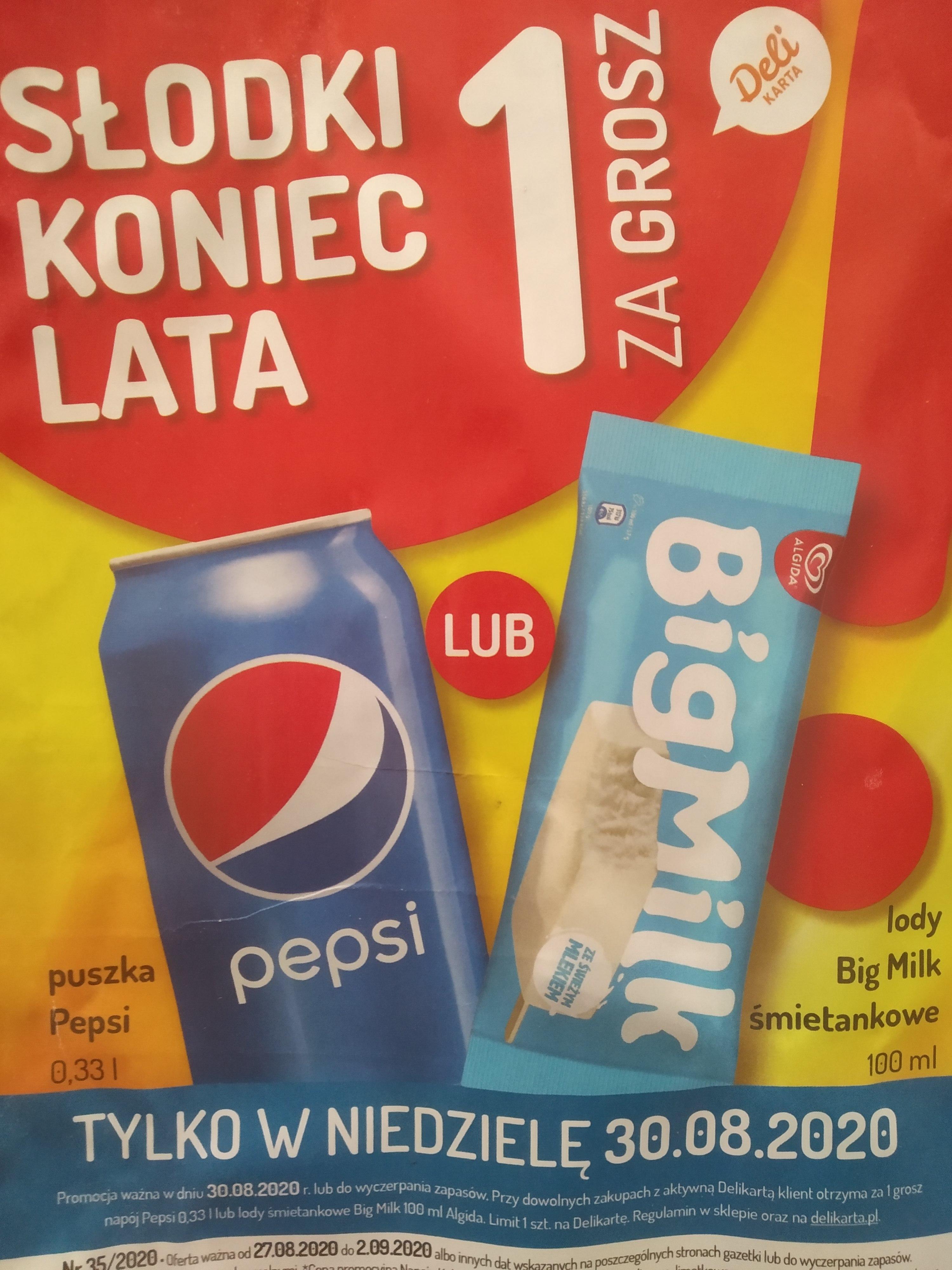 Big Milk 100 ml lub Pepsi 0,33 l za jeden grosz przy dowolnych zakupach z ważna delikarta w sklepach Mila. Tylko 30.08.2020