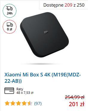 Xiaomi MI BOX S 4K za 201 zł z polskiego sklepu z gwarancją