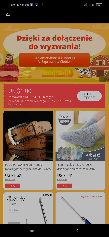 Kupon AliExpress 1/1,01 $