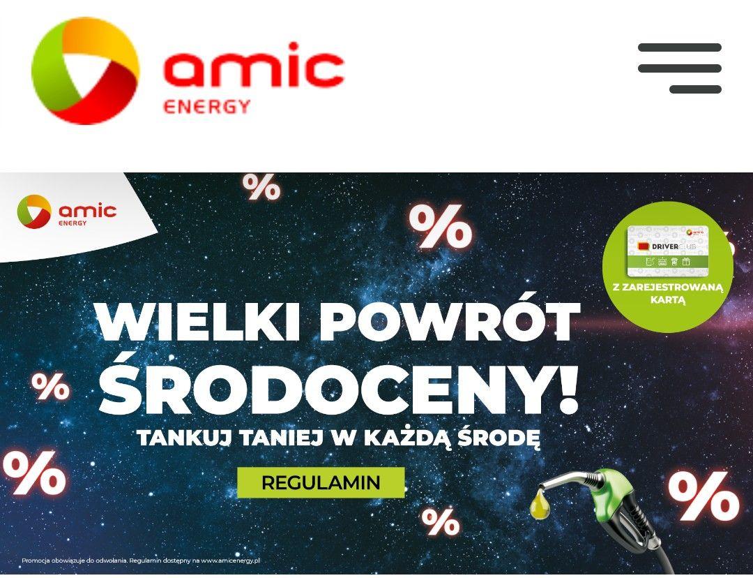 WIELKI POWRÓT ŚRODOCENY! Tankuj taniej! Tylko w Środy na stacjach AMIC Energy zatankujesz taniej