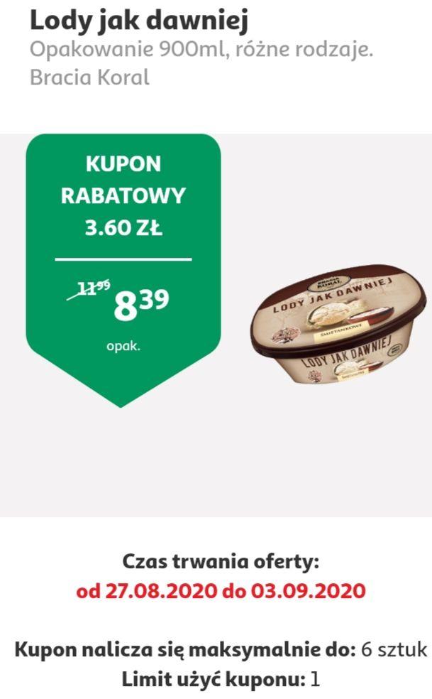 Lody jak dawniej- Bracia Koral, 900 ml, różne rodzaje, cena z kuponem w aplikacji Auchan