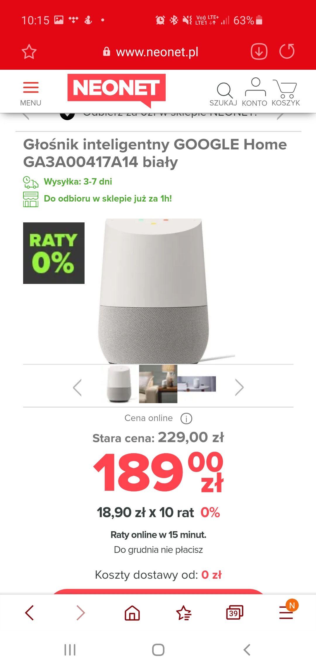 Głośnik inteligentny Google Home WiFi bluetooth