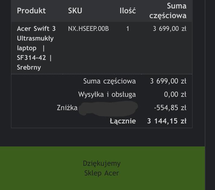 Laptop Acer Swift 3 ryzen 5 4500u, 16 GB RAM, 1TB SSD