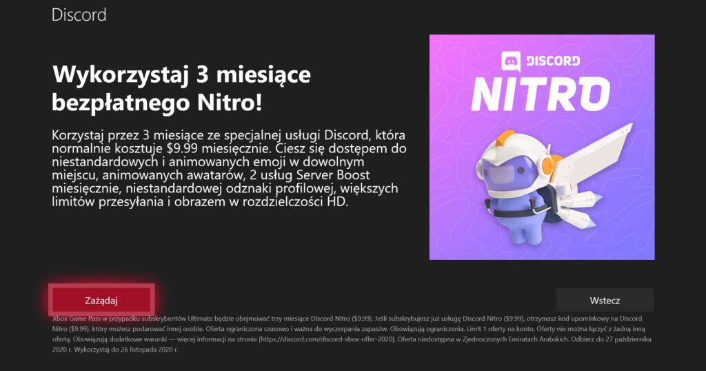 Darmowe 3 miesiące Discord Nitro w Xbox Game Pass Ultimate