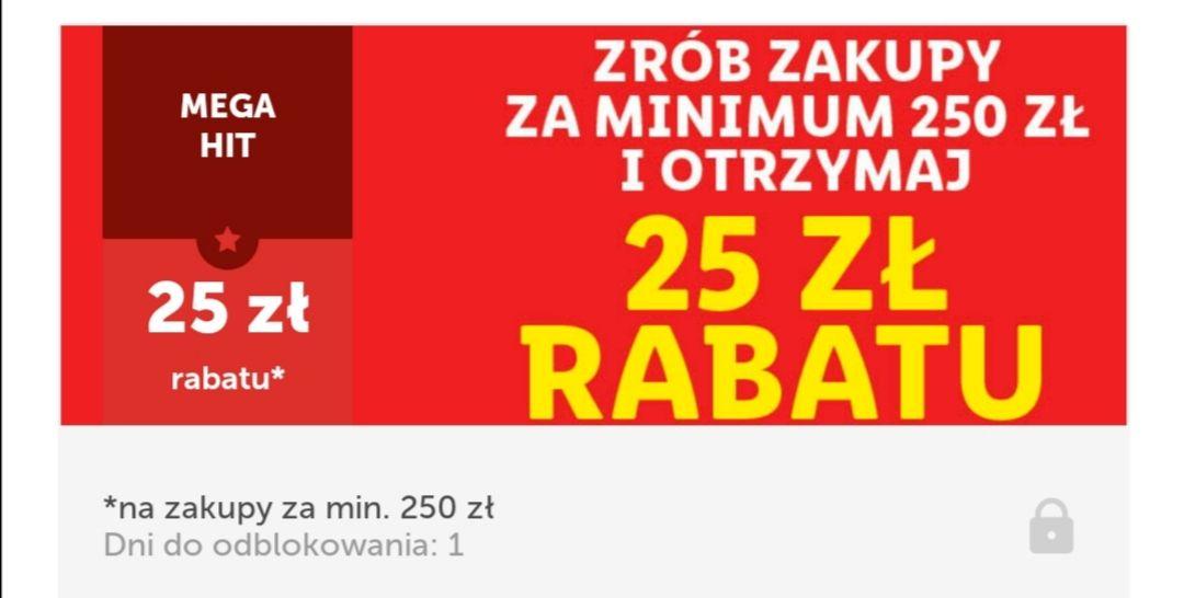 25 zł rabatu za zakupy za min 250 zł Lidl Plus