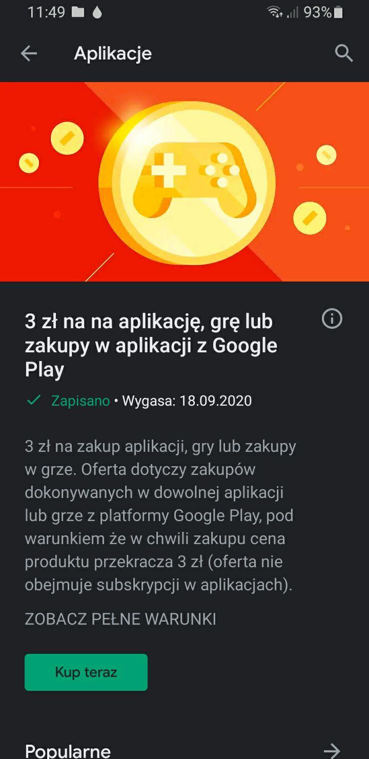Kupon rabatowy na zakup gry lub aplikacji w sklepie Google Play na 3zł