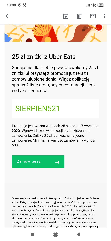 Zniżka -25 zł na Uber Eats, MWZ 50 zł