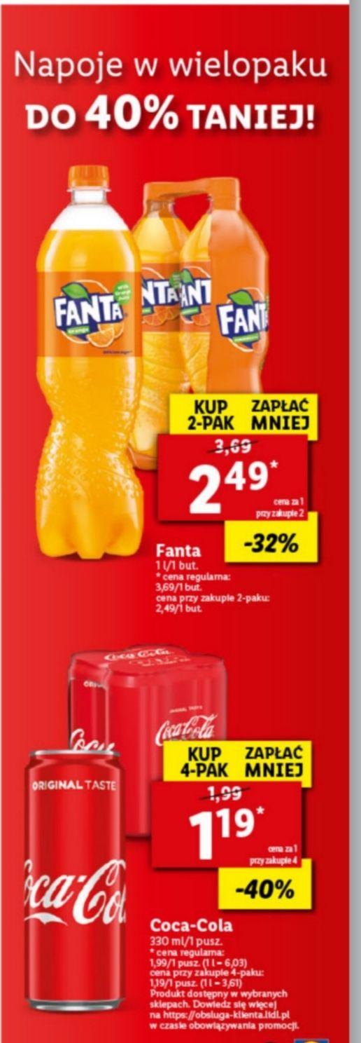 Lidl - Napoje w wielopaku taniej do -40%, cola 1.19/330ml, fanta 2.49/L