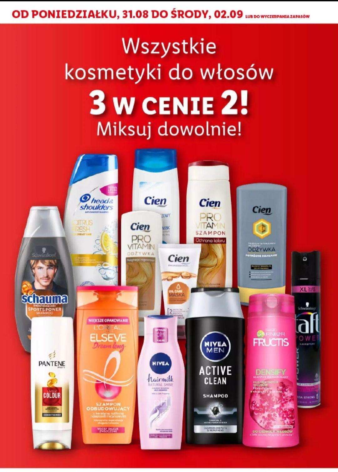 Wszystkie kosmetyki do włosów 3 w cenie 2 Lidl
