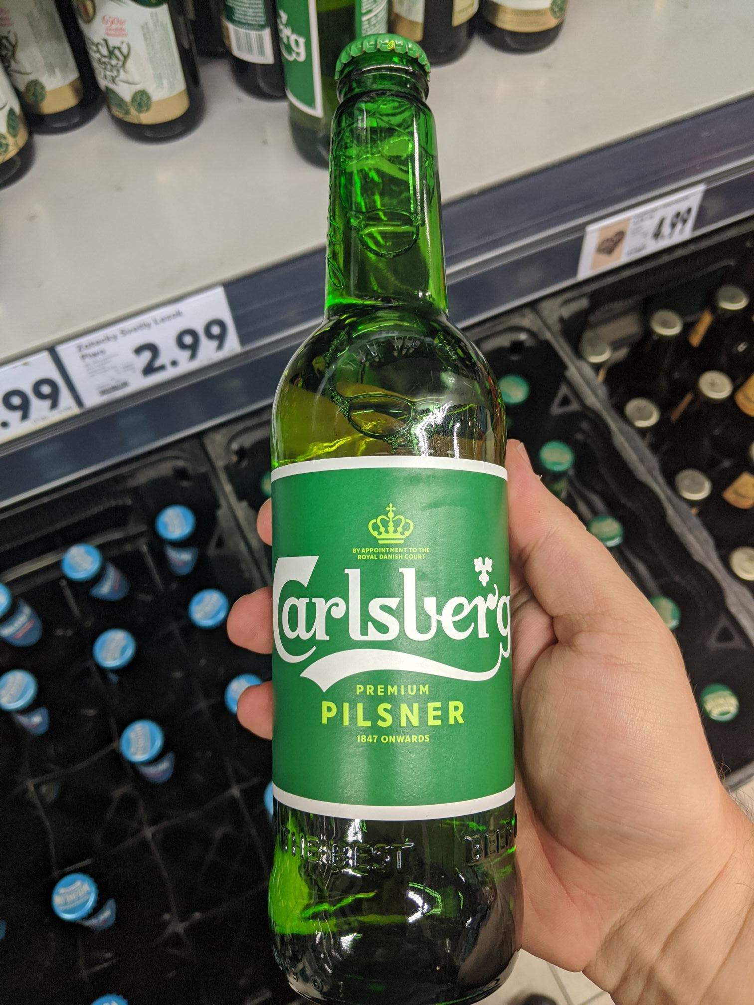 Piwo jasne Carlsberg 0,5L 5% alkoh., butelka bezzwrotna. Kaufland