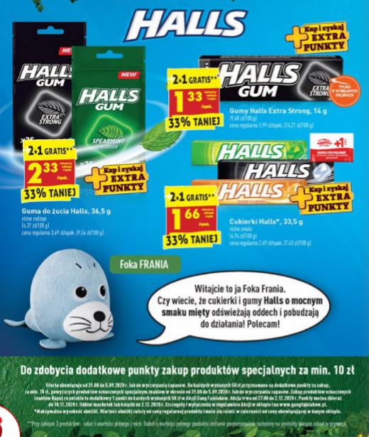 Gumy i cukierki HALLS 2+1 gratis. Biedronka