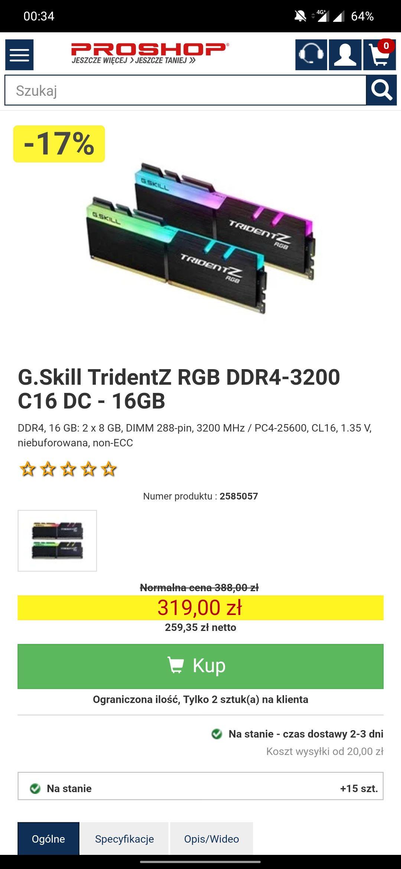 G.Skill TridentZ RGB DDR4-3200 C16 DC - 16GB