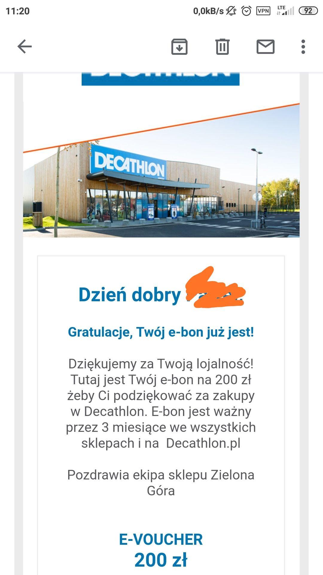 Decathlon e-voucher 200zł