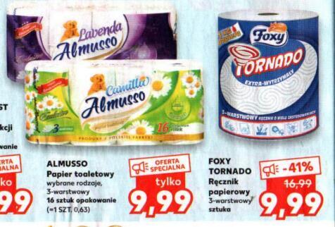 Foxy Tornado Ręcznik papierowy 3-warstwowy 9,99 zł|Almusso Papier toaletowy 3- warstwowy 16 szt. 9,99 zł|Velvet 8szt. 5,99 zł @Kaufland