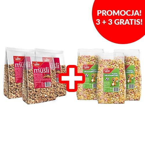 Pakiet płatki sniadaniowe wielozbożowe 3x350g oraz musli zboża i owoce 3x400g