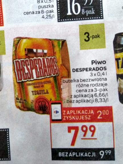 3x desperados za 7,99 z aplikacją Carrefour