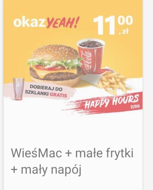 WieśMac + małe frytki + napój - happy hours