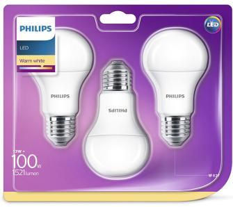 3 żarówki LED Philips 13W/100W, 1521lm, E27, 2700K, a 60W/9W po 16,99 za 3szt o/os 0zł