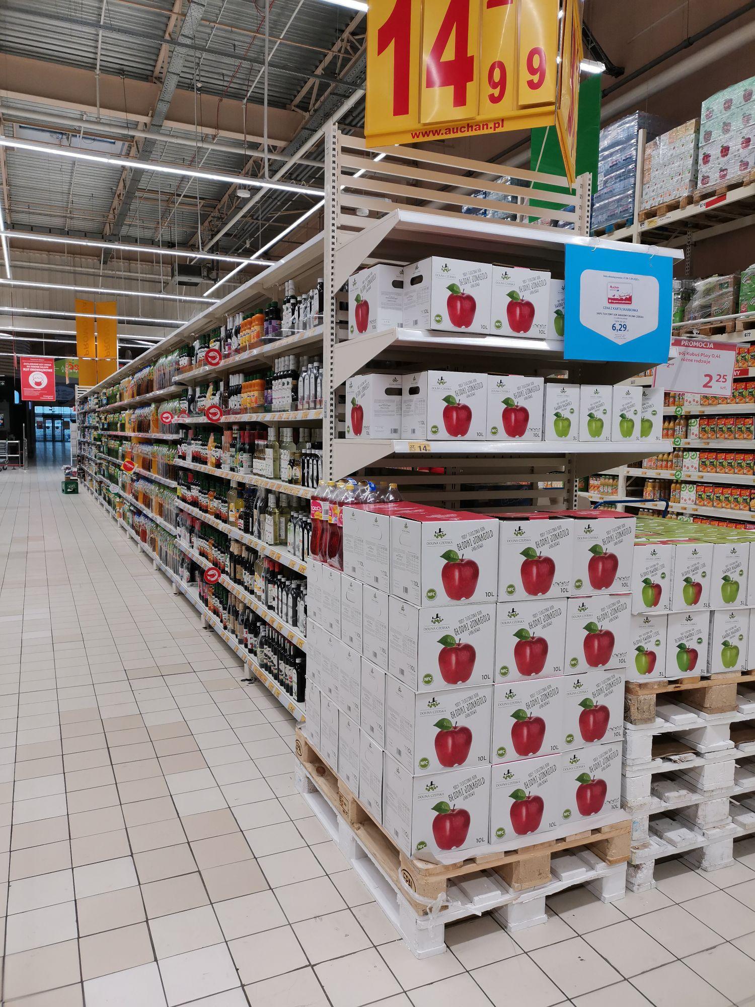 Sok tłoczony jabłko 10l Auchan Gdańsk Szczęśliwa
