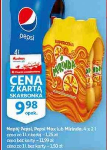 Napój Pepsi, Pepsi Max, Mirinda 2 l (2,50 zł/butelka) przy zakupie 4-packa @Auchan (z kartą Skarbonka)