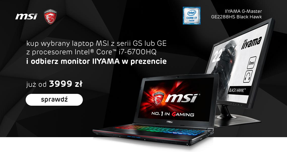 Monitor iiyama gratis za zakup laptopa MSI dla graczy