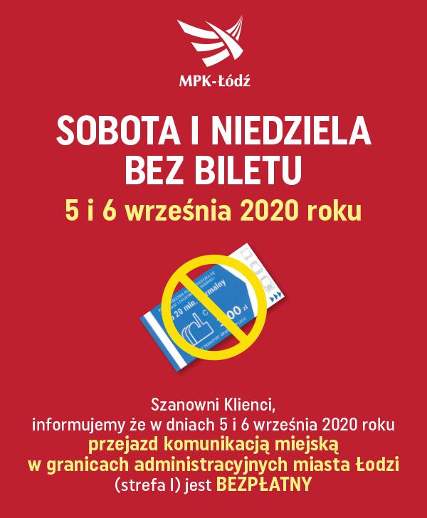 [Łódź] Darmowe przejazdy komunikacją miejską w dniach 05-06 września 2020.