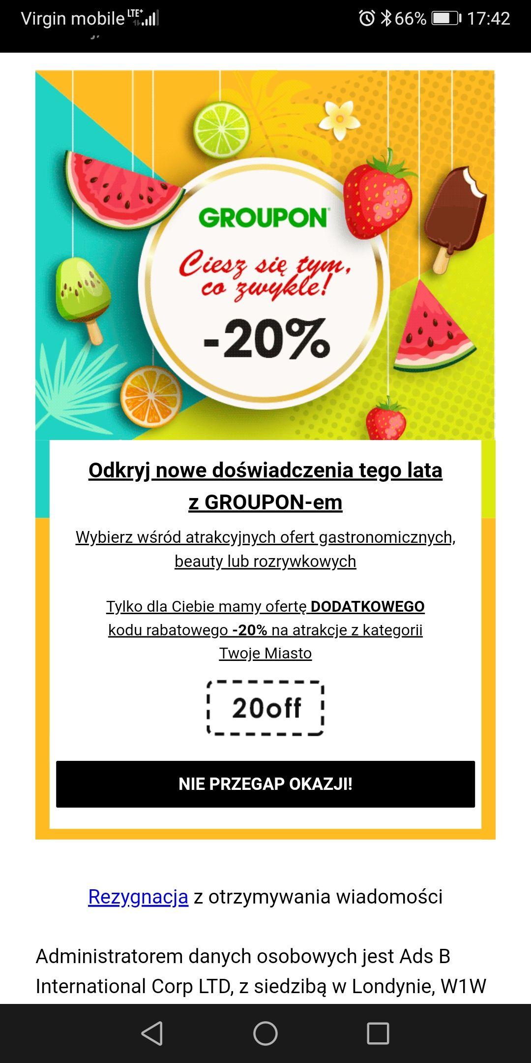 Groupon - 20% na oferty Twoje Miasto