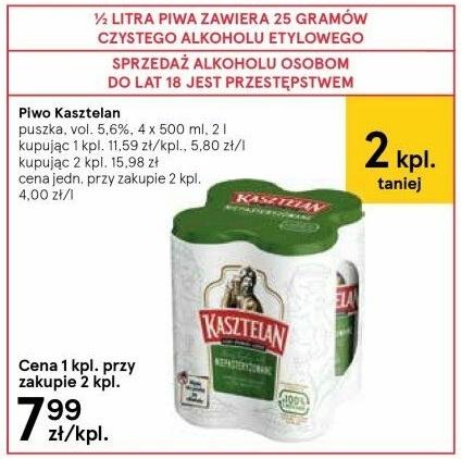Czteropaki Kasztelana po 7,99 zł w Tesco. 2 zł za puszkę, czyli 4 zł za litr.