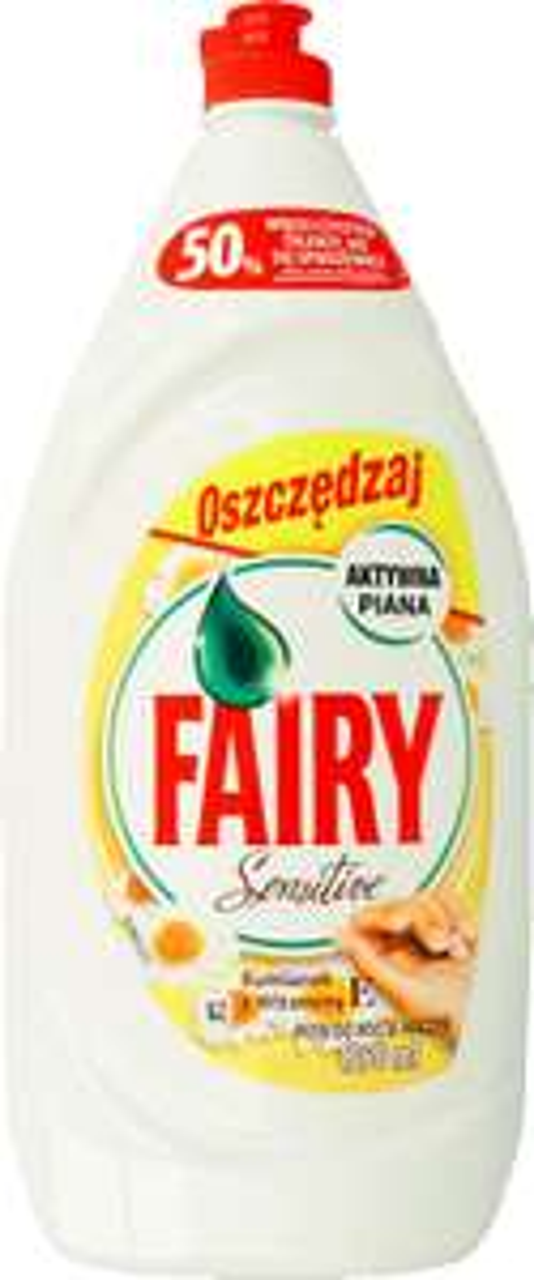 Płyn do mycia naczyń 1350ml Fairy Sensitive z witaminą E, a także cytrynowy, stacjonarnie i online