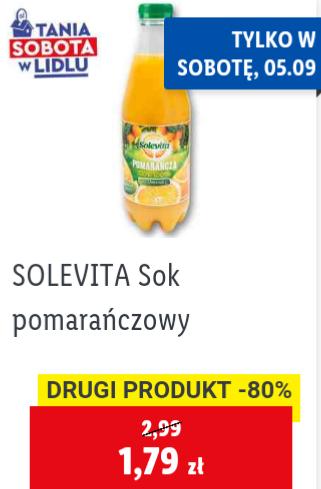 Sok pomarańczowy Solevita 1L przy zakupie 2szt. Lidl