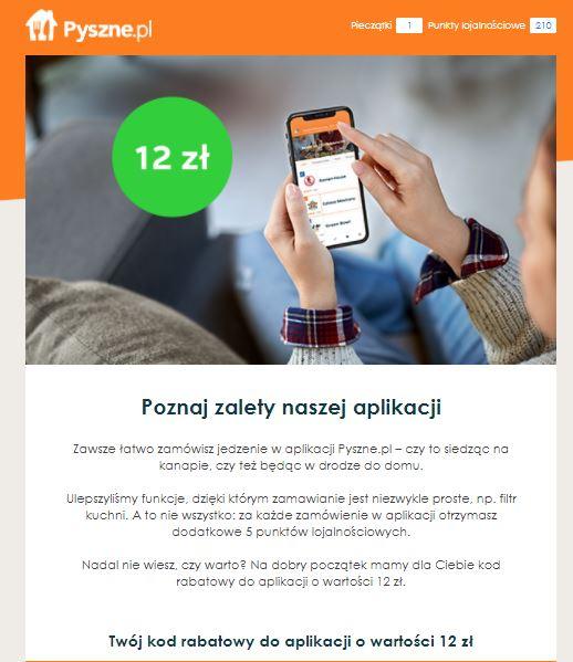 Pyszne.pl rozsyła kody rabatowe 12zł