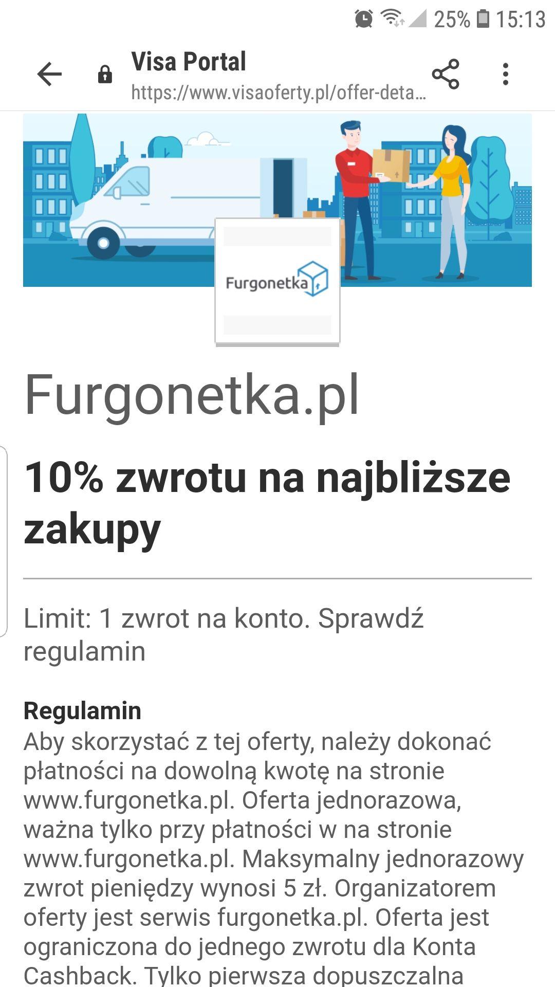 10% Rabatu z VISA oferty na Furgonetka.pl