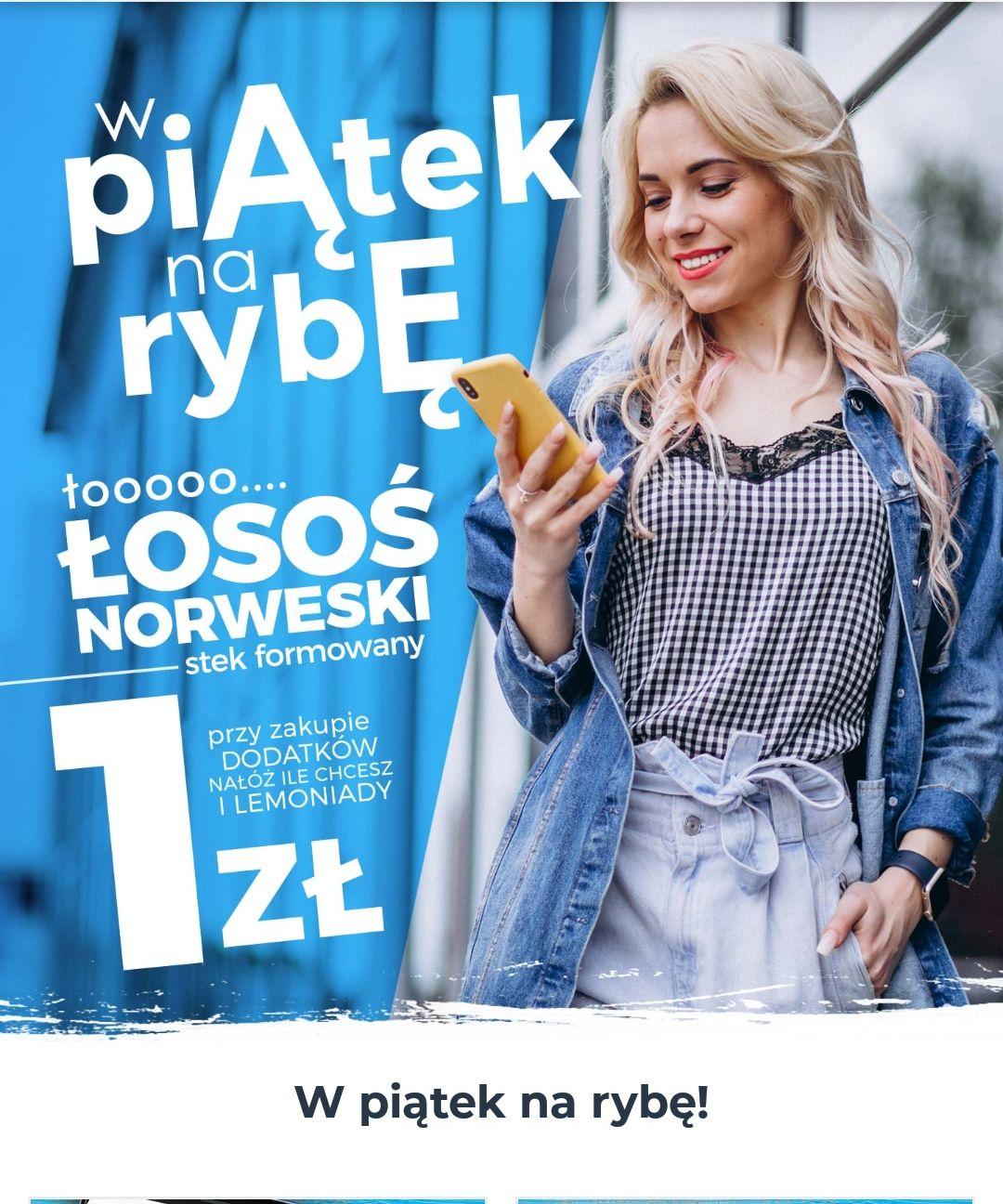 """Łosoś norweski za 1zł przy zakupie lemoniady i dodatków """"nałóż ile chcesz"""" w North Fish"""