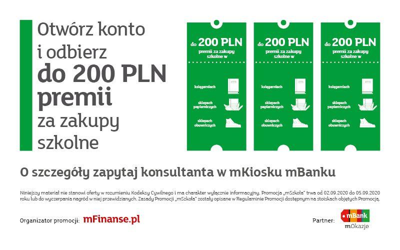 mBank 200zł zwrotu za zakupy + 140zł za testowanie konta