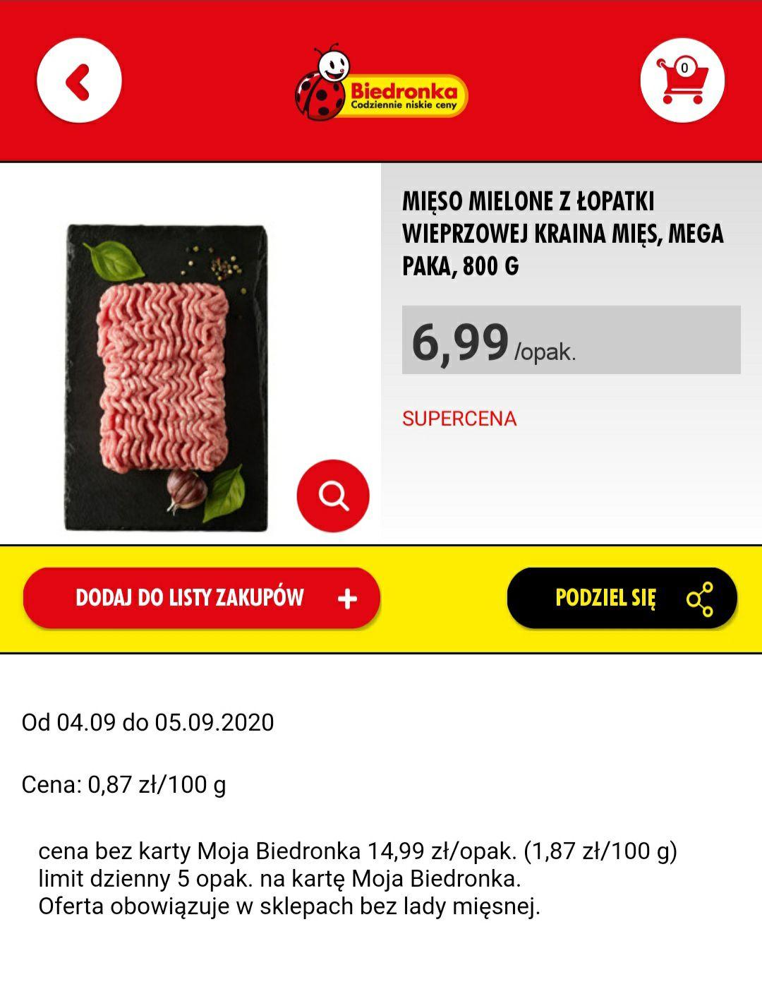Mięso mielone 800g, Biedronka, z kartą MB
