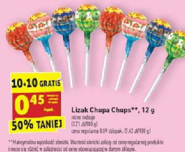 Lizak Chupa Chups. 10+10 gratis. Biedronka