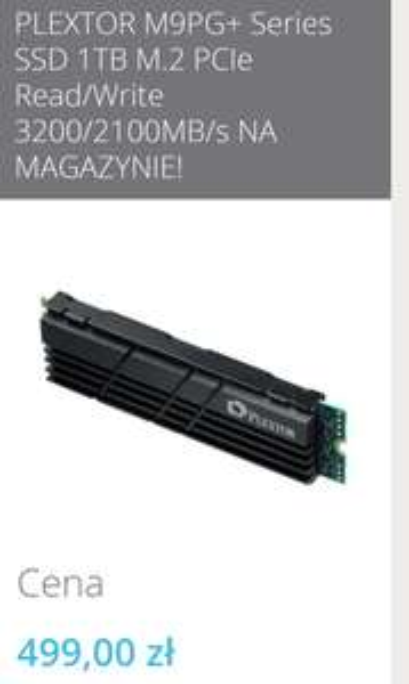 Dysk SSD M.2 NVMe PLEXTOR M9PG+ 1TB