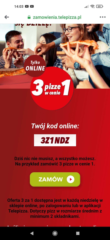 3 za 1 pizzę w Telepizza - każda niedziela